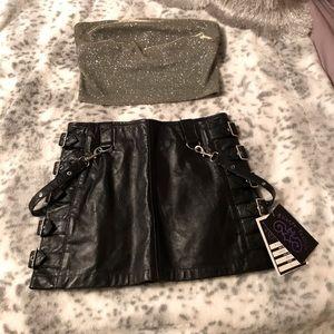 Hilary's Vanity Leather Mini Skirt